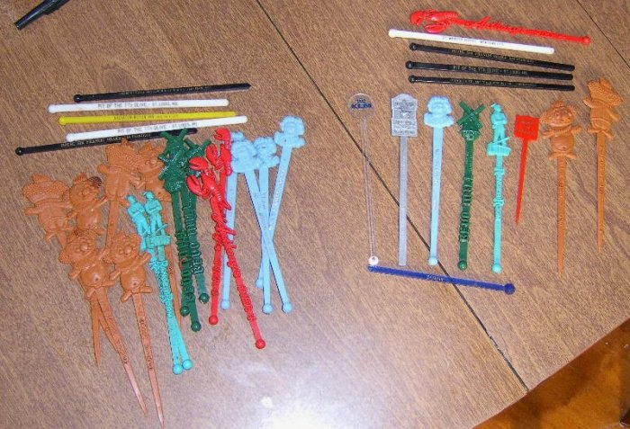 Lot of 36 Vintage Swizzle Sticks / Many are Different Free Shipping