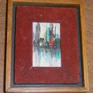 "Framed Miniature Oil Painting on Board SGND Kim 2"" by 3"" Abstract City Scene"