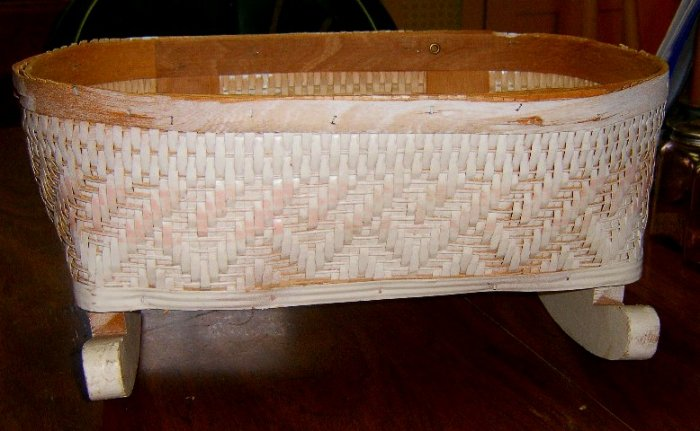Vintage Toy Basket Weave Doll Cradle on Rockers  C. 1960's / Free Shipping