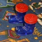 Vintage Cobalt Blue Christmas Santa Boots Salt & Pepper Shakers