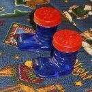 Vintage Cobalt Blue Christmas Santa Boots Salt & Pepper Shakers