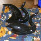 Pair of Retro 1950's Art Deco Black Pottery Swans