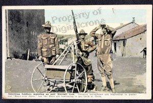 Un-Used WW1 RPPC American Soldiers Manning Anti Aircraft Gun.