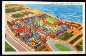 1933 Color Postcard Chicago IL Century of Progress World Fair- Oriental Village