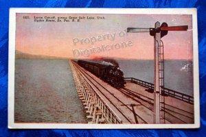 Vintage Color Postcard Lucin Cut-Off across Salt Lake So. Pacific RR Ogden, Utah