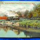 Vintage Color Postcard Train traveling along Battle Creek River, Battl