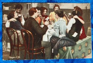 1907 Illustrated Postcard Co Collotype Actors Actresses Celebrate After Hours CHEERS