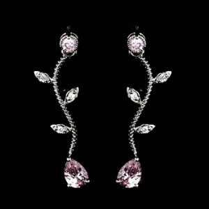 Silver Pink Rhinestone Wavy Vine Dangle Earring