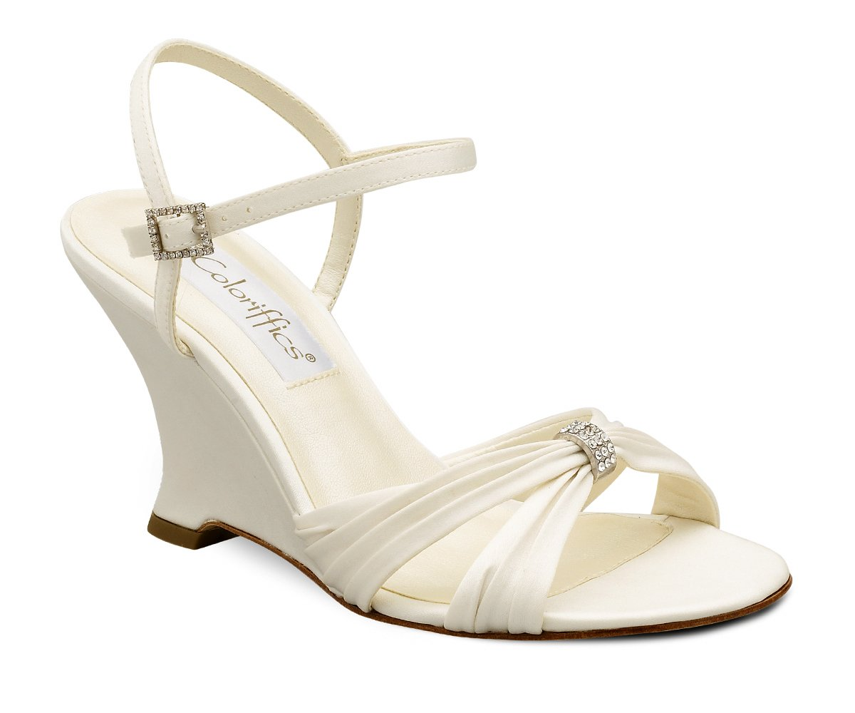 Ivory Satin Rhinestone Bridal Wedge Heel Shoes