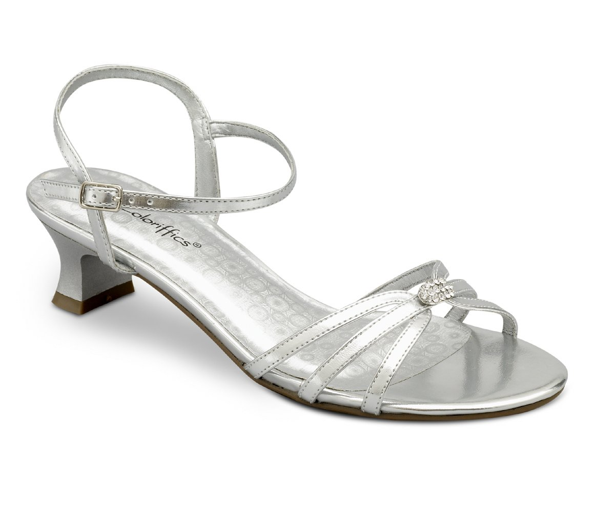 Silver Metallic Rhinestone Low Heel Dress Shoes