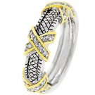 NEW 14k Gold Silver Cable CZ Eternity Ring