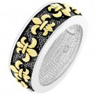 NEW 14k Gold Silver Antique Fleur De Lis Eternity Ring