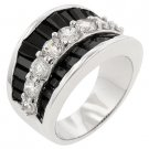 NEW White Gold Silver Jet Black Clear CZ Ring