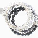 Chicos Silver Black Rhinestone Crystal Bead Bracelet