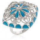 Blue Flower Enamel Rhodium CZ Ring