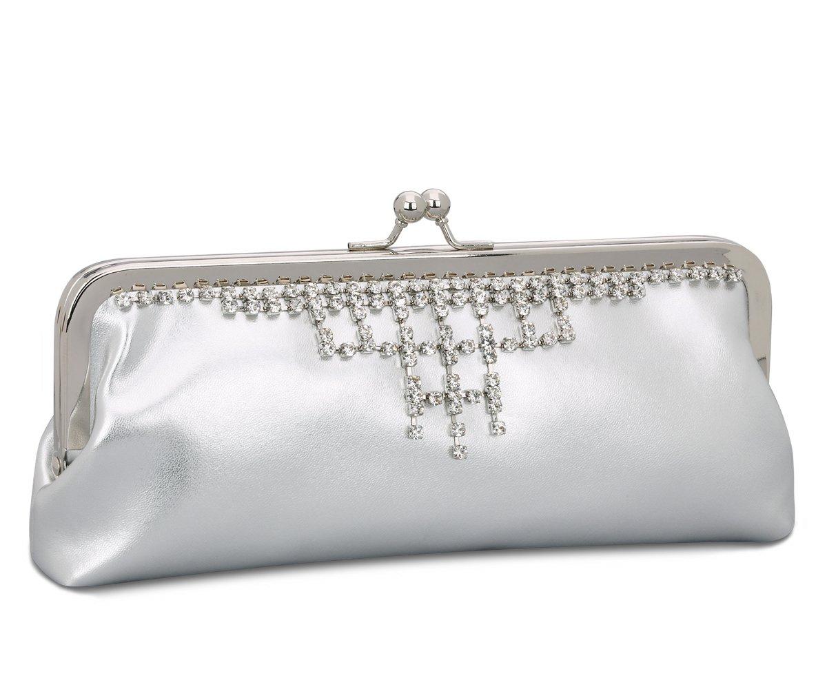 Silver Satin Rhinestone Clutch Evening Handbag Purse