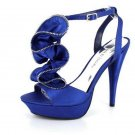 NEW Blue Satin Zipper Ruffle Platform High Heel Shoes