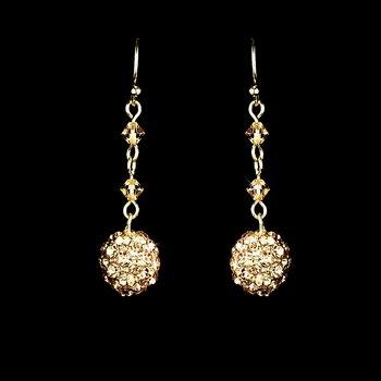 Gold Clear Rhinestone Drop Earrings