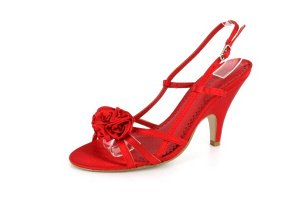 NEW Red Satin Rose Mid-Heel Sandals Shoes