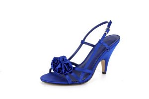 NEW Royal Blue Satin Rose Mid-Heel Sandals Shoes