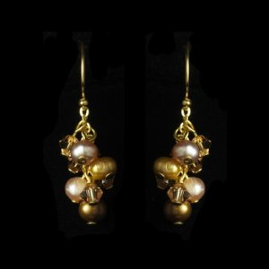 Gold Brown Freshwater Pearl Swarovski Crystal Earrings