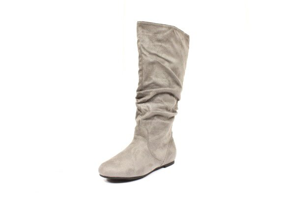 new gray suede scrunch flat womens boots shoes