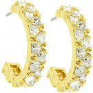 NEW 14k Gold Bonded Trillion Cut Clear CZ Hoop Earrings