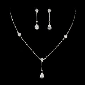 Silver Cubic Zirconia Drop Necklace Earring Set