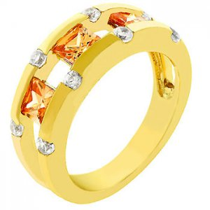 NEW 14k Gold  Princess Cut Champagne Ring
