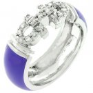 NEW White Gold Silver Purple Enamel CZ Eternity Ring