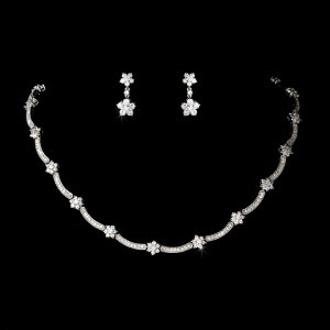 Silver Cubic Zirconia Crystal Necklace Earring Set