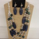 Silver Blue Resin Beads Necklace Earring Set 24""