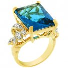 NEW 14k Gold Blue Topaz CZ Cocktail Ring
