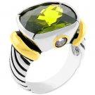 NEW 14K Gold White Gold Olive CZ Ring