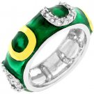 NEW 14K White Gold Bond Dark Green Enamel Stacker Ring
