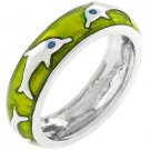 NEW White Gold Silver Dolphin Apple Green Stacker  Ring