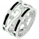 White Gold Silver Black White CZ Enamel Band Ring