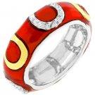 NEW 14K White Gold Bond Red Enamel Stacker Ring