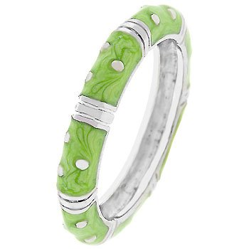 NEW White Gold Silver Apple Green Stacker Ring