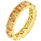 NEW 14K Gold Trillion Cut Champagne CZ Eternity Ring