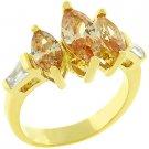 NEW 14K Gold Triplet Champagne CZ Chevron Ring