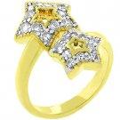NEW 14K Gold Cubic Zirconia 2 Star Ring