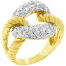 "NEW 14K Gold ""O"" Lasso CZ Rope Ring"