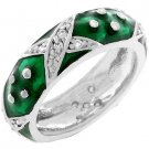 NEW White Gold Silver Forest Green Stacker Ring