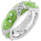 NEW White Gold Silver Light Green Stacker Ring