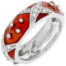 NEW White Gold Silver Ruby Red CZ Stacker Ring