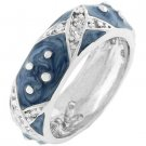 NEW White Gold Silver Blue Stacker Ring