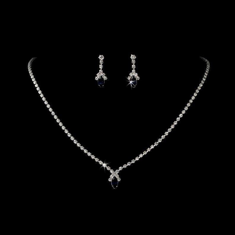 Silver Navy Crystal Rhinestone Necklace Earring Set