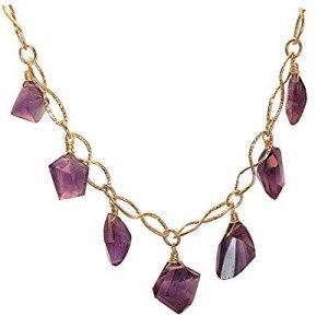 NEW 14k Gold dark Amethyst Necklace Pendant