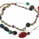 Chicos NEW Goldtone Multi Beaded Wire Necklace